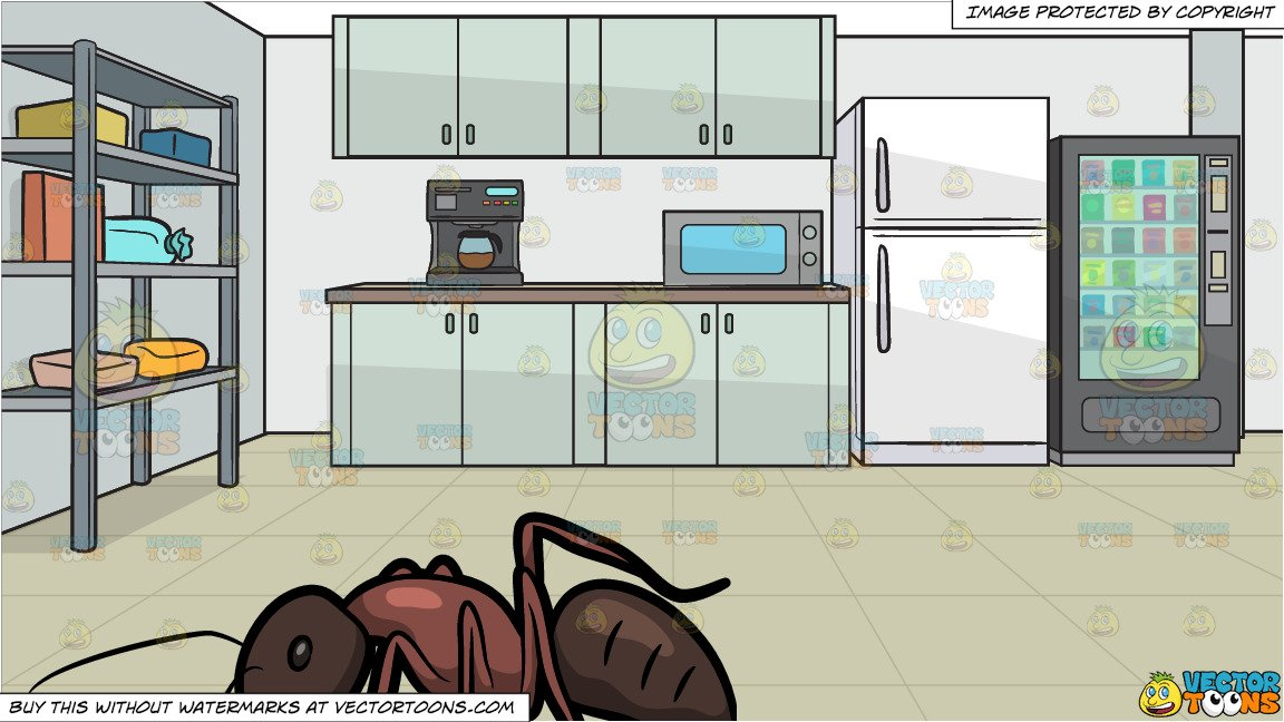 A Carpenter Ant and An Office Lunch Room Background Clipart 1152x648