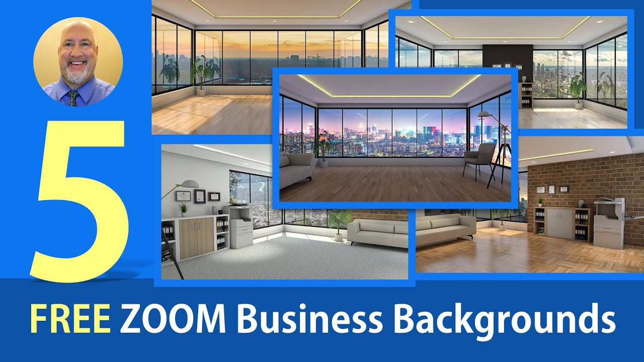 Five Zoom Business Backgrounds 1280x720