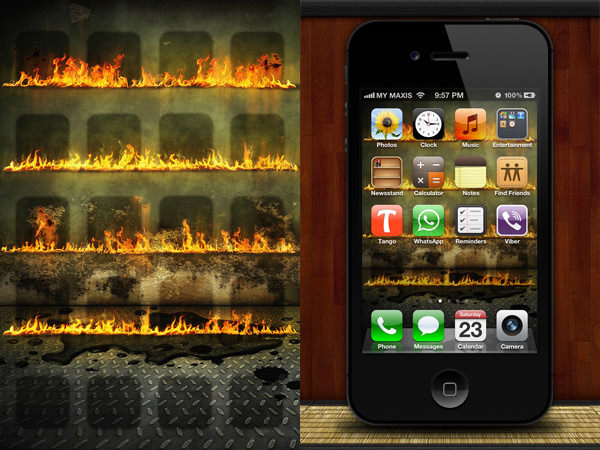 setting fire to my iPhone with this cool wallpaper complete with oil 600x450