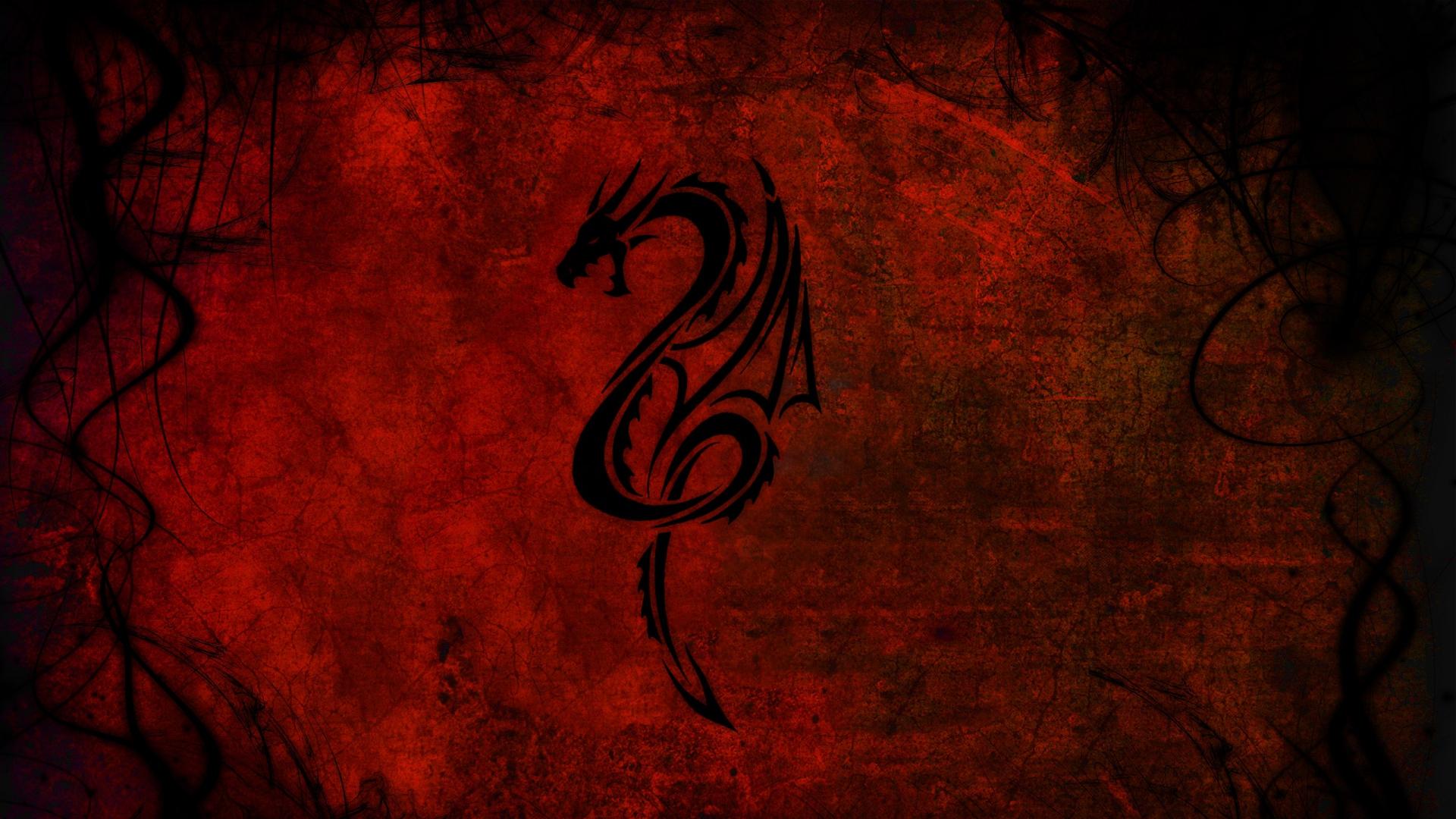 Wallpaper 1920x1080 dragon pattern red black Full HD 1080p HD 1920x1080