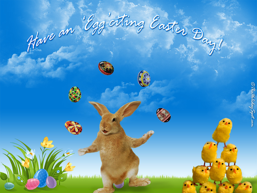 Chicks and Bunny are playing with eggs in easter wallpaper 1024x768