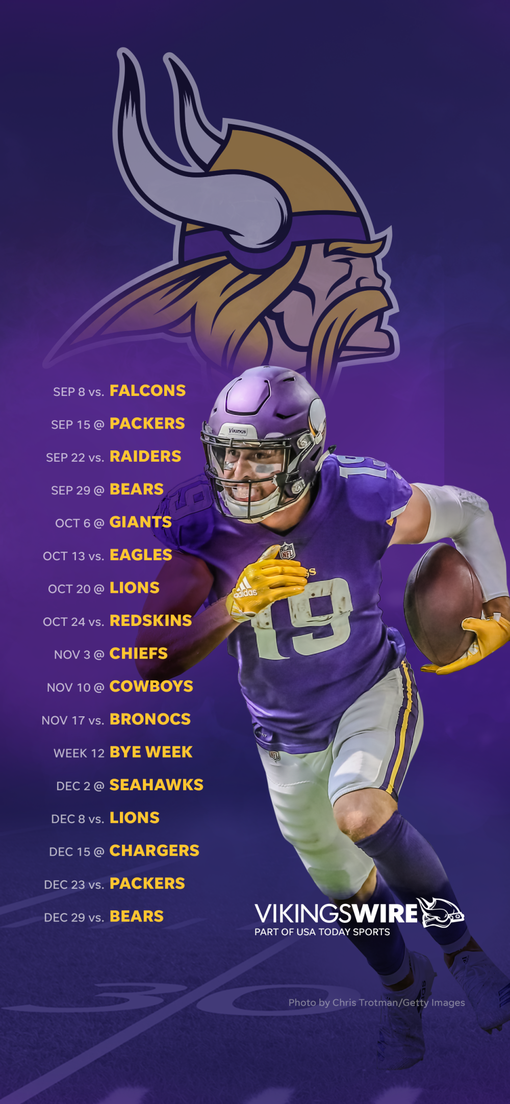 2019 Minnesota Vikings Schedule Downloadable Wallpaper 1000x2164