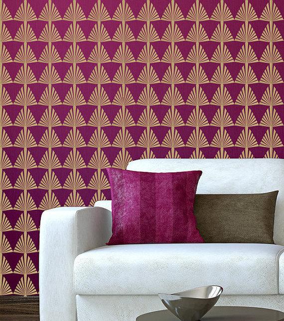 Removable Wallpaper Art Deco 22 x 44 Seamless Continuous Design 570x643