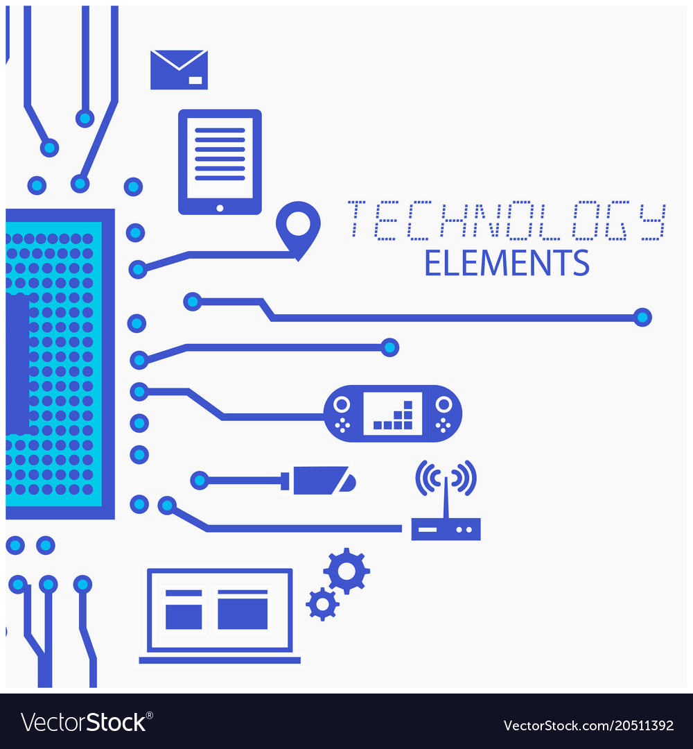 Technology elements circuits white background vect 1000x1080