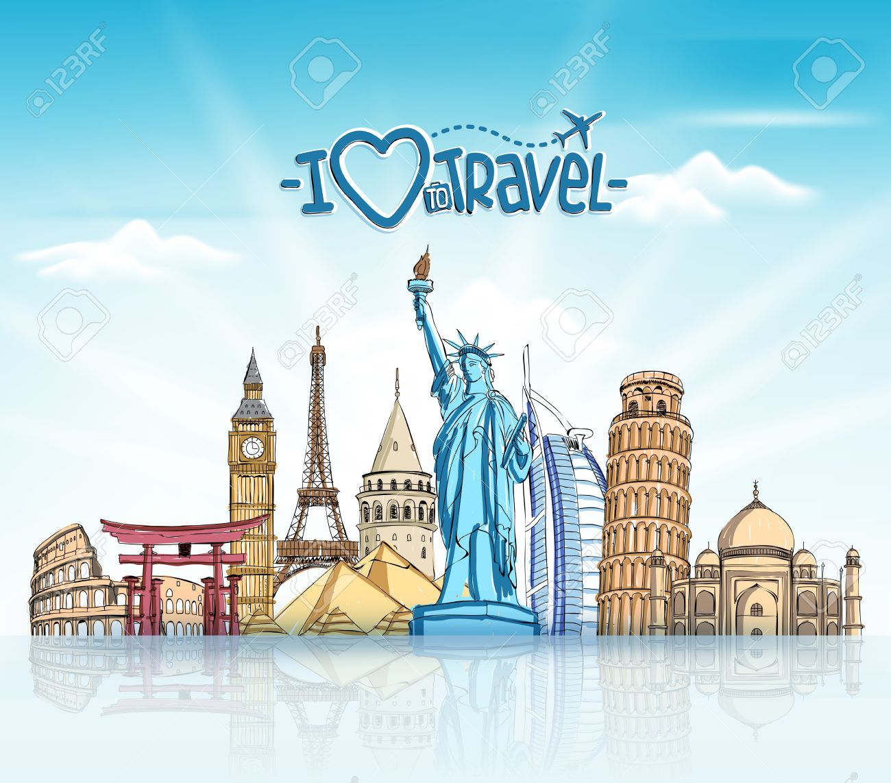 Travel And Tourism Background With Famous World Landmarks In 1300x1142