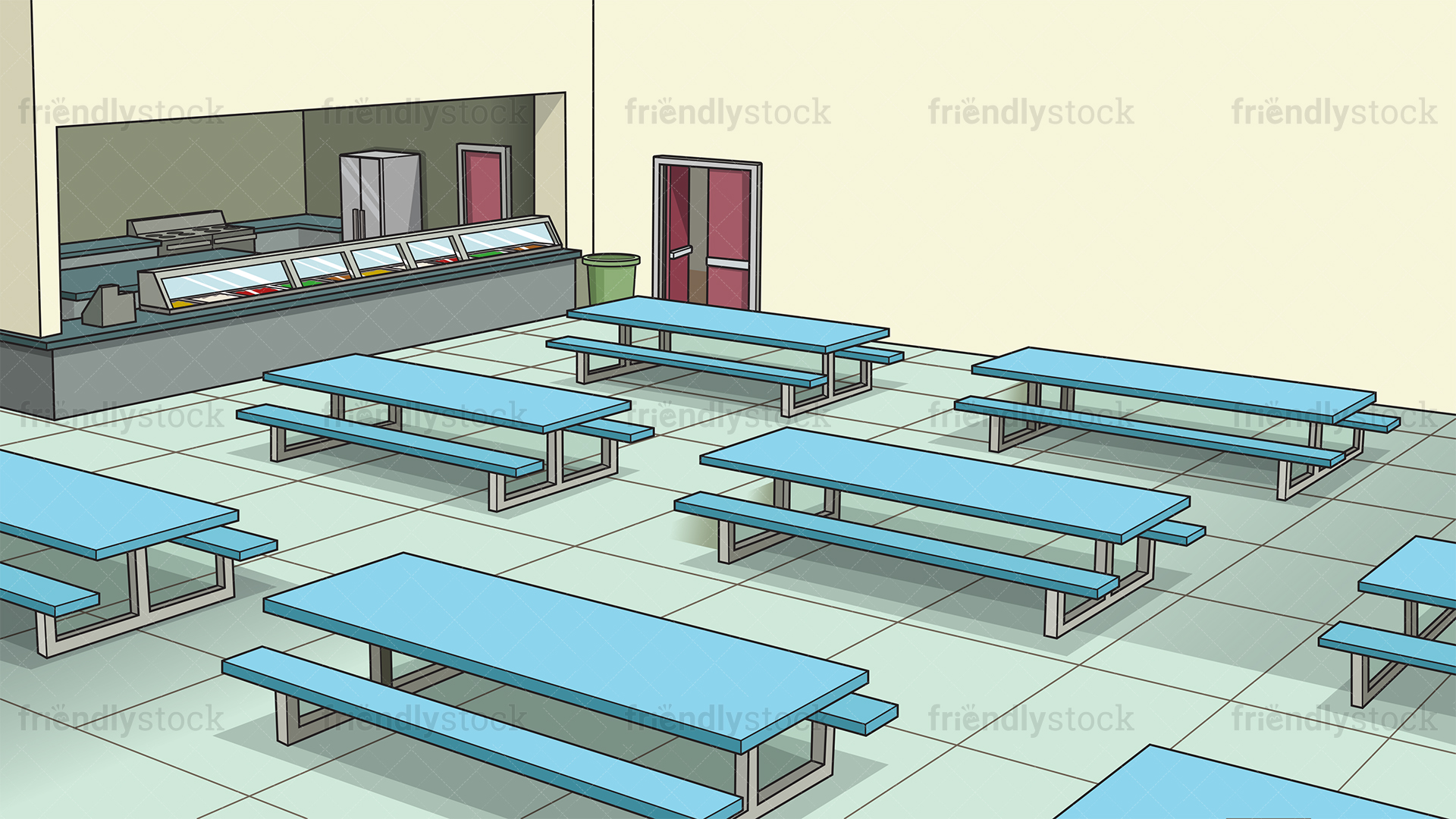 School Cafeteria Background Cartoon Vector Clipart   FriendlyStock 1920x1080