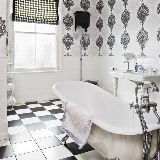 Monochrome bathroom Modern bathrooms Bathroom wallpaper Image 550x550
