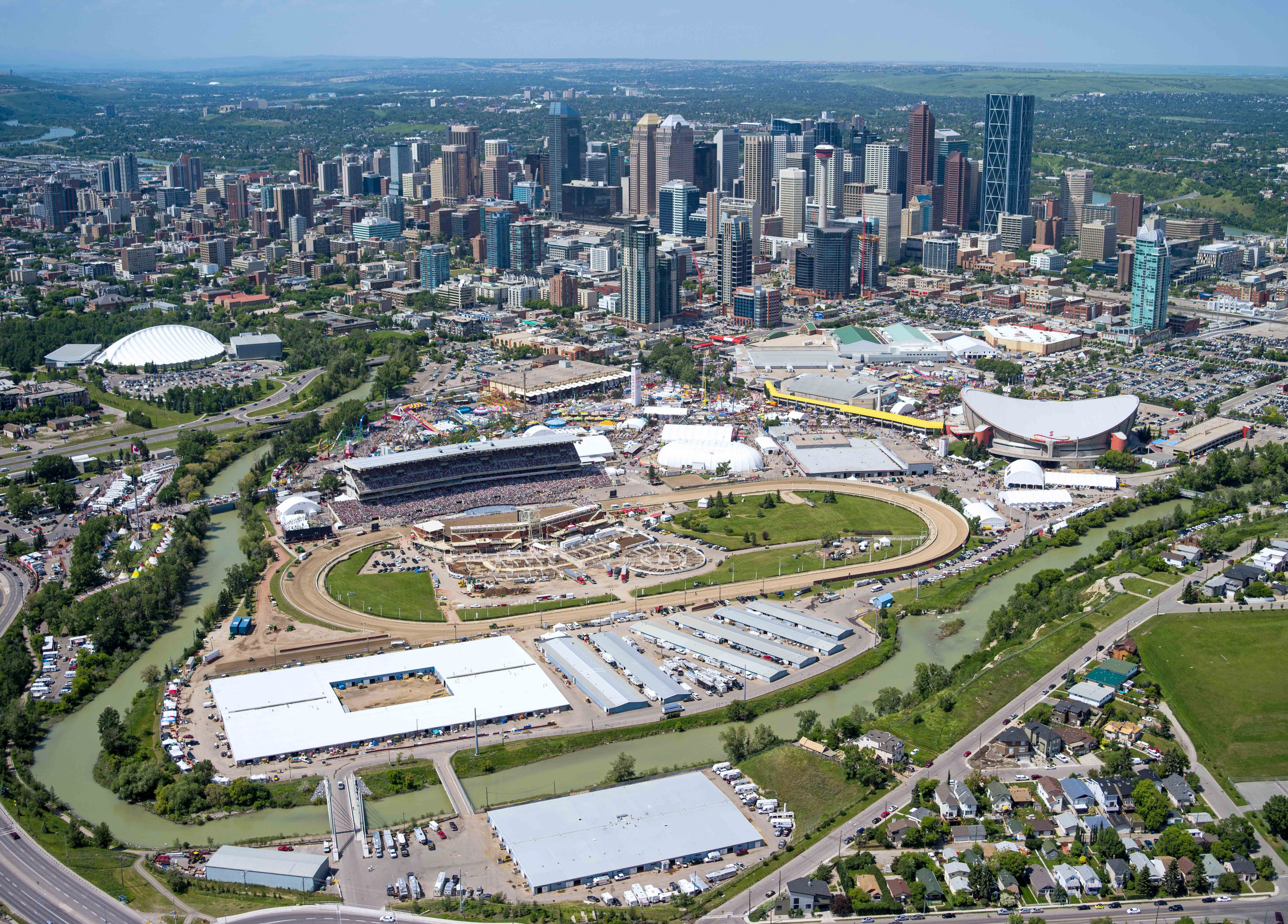 The grounds of the Calgary Stampede is shown in this aerial photo with 6999x5020