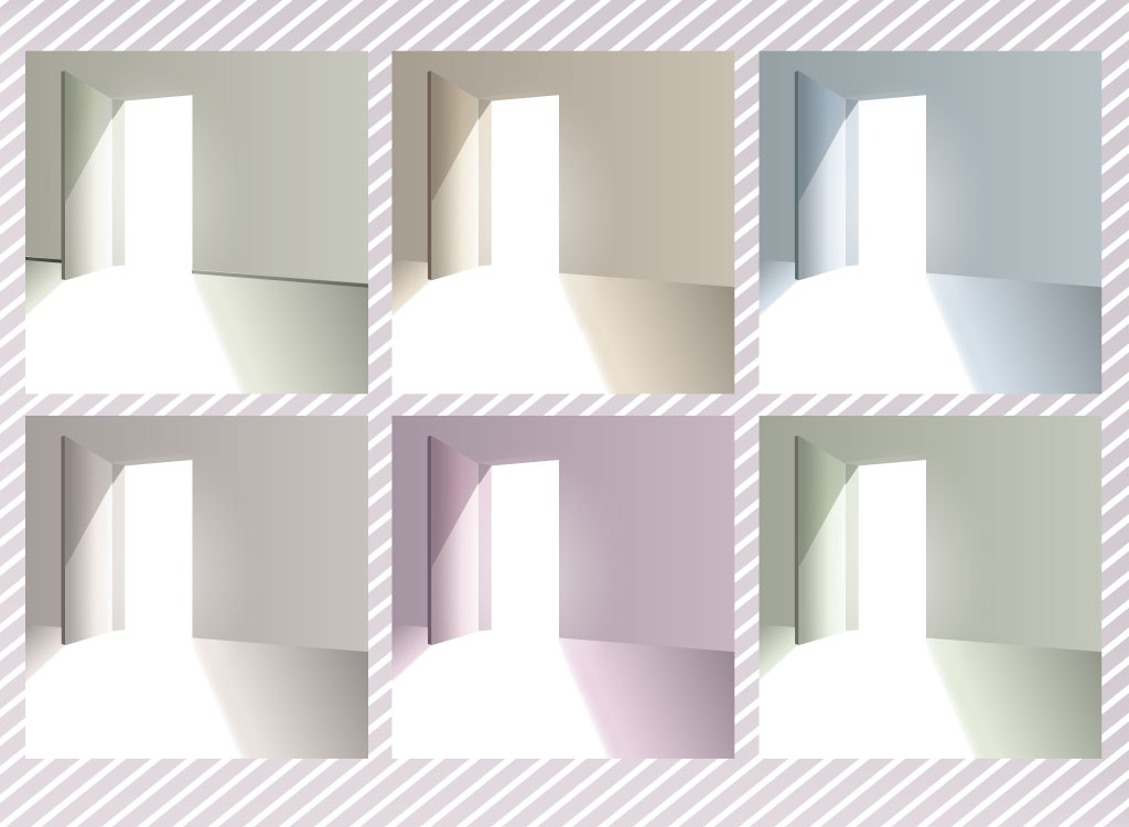 This set of open door background graphics is available in six 1024x750