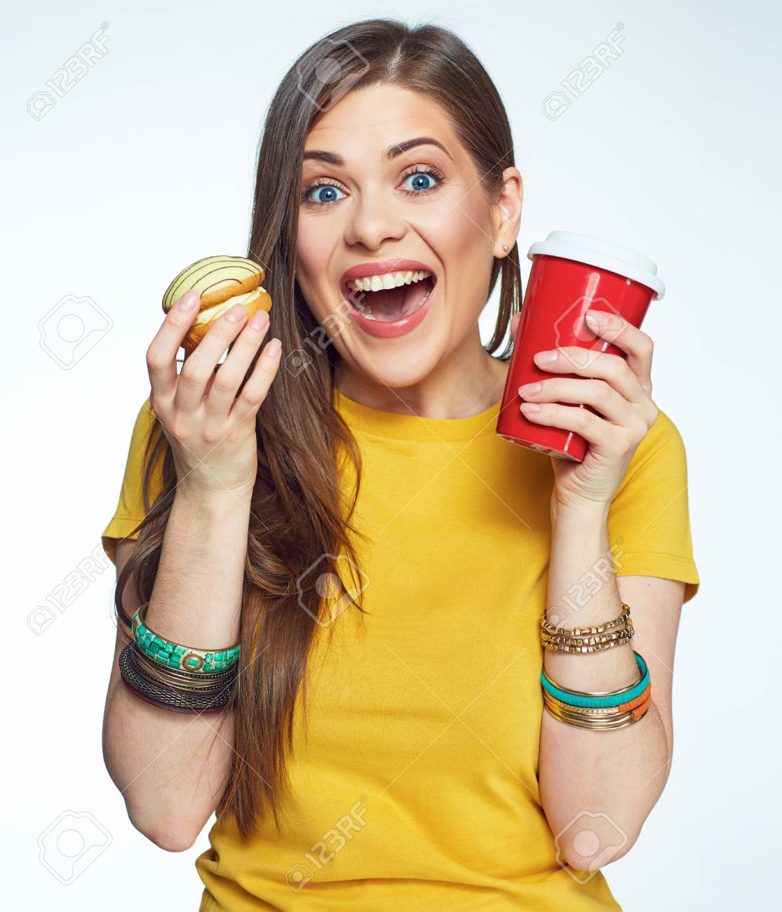 Happy Emotional Woman Glad Sweet Diet White Background Isolated 1115x1300