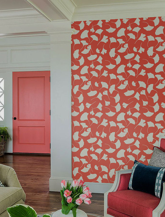 Self adhesive vinyl temporary removable wallpaper wall decal   Leave 570x750