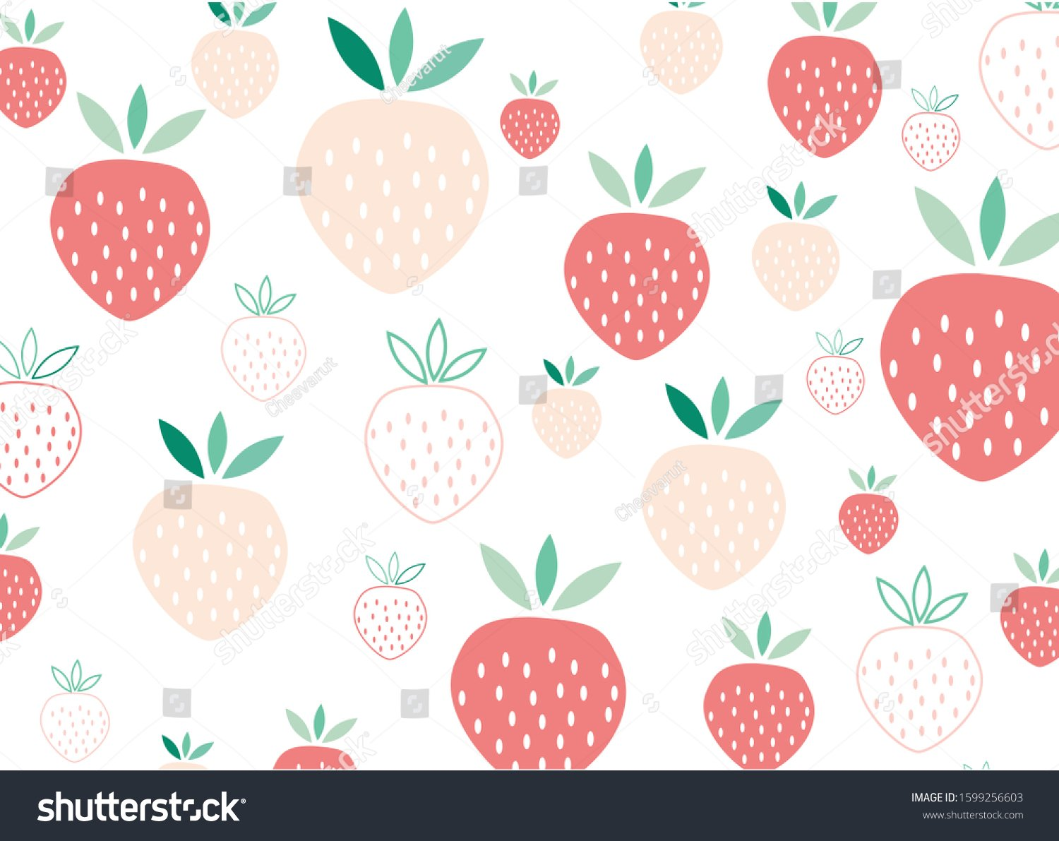 Strawberry On White Background Pastel Color Stock Vector Royalty 1500x1191