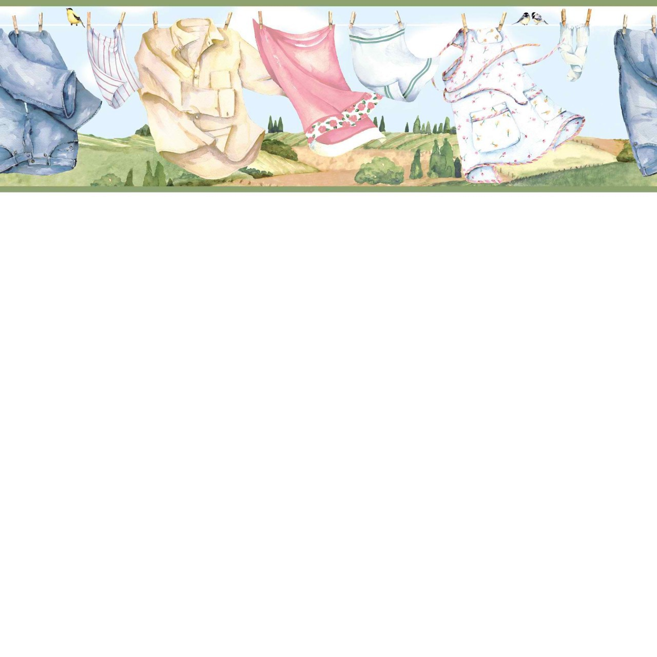Sky Blue CKB05122B Country Clothesline Wallpaper Border 1280x1280