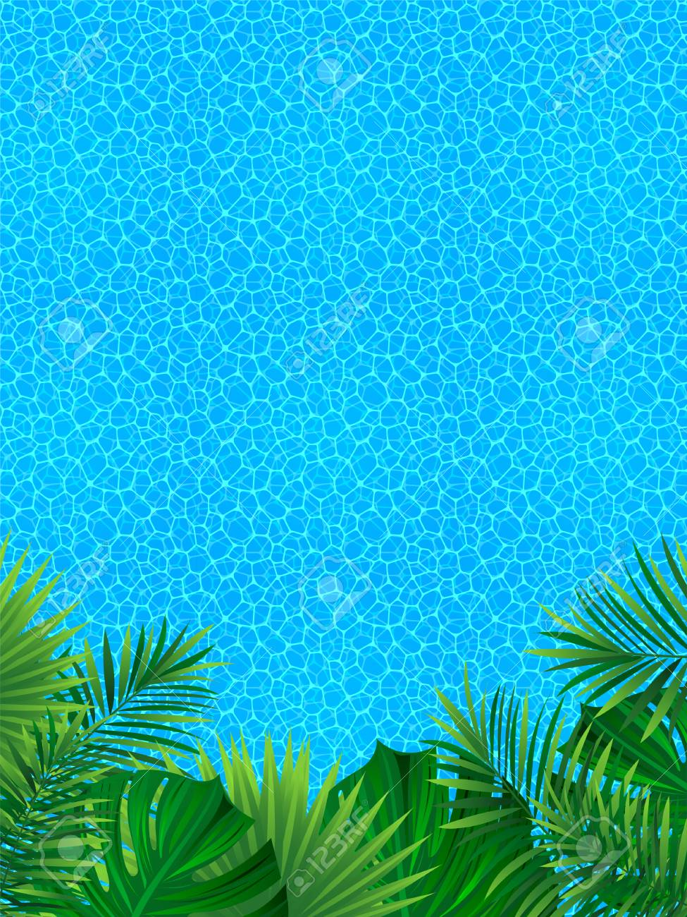 Tropical Landscape Vertical Border Frame Vector Illustration 975x1300