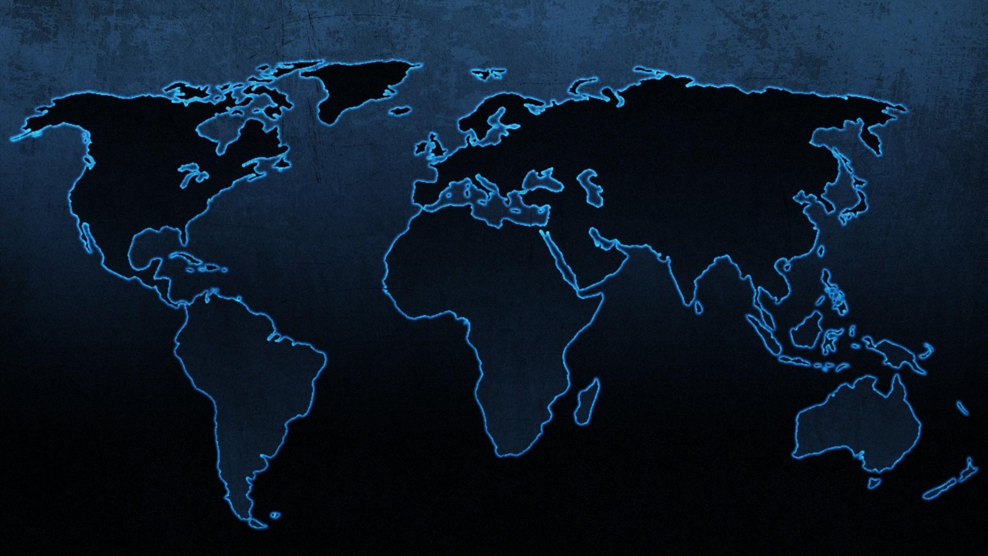 Blue continents maps world map wallpaper 1920x1080