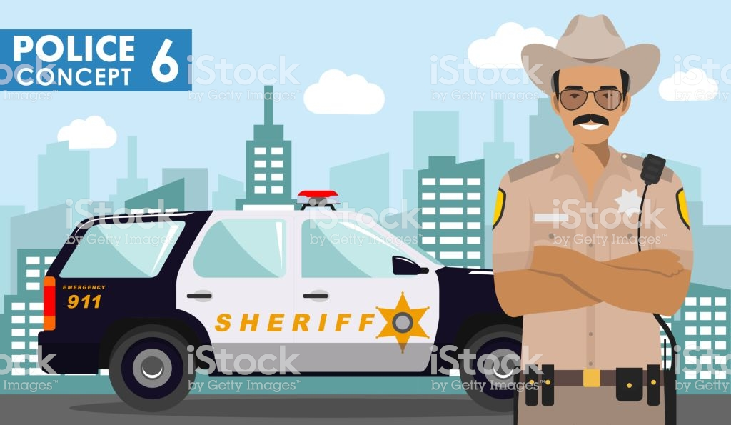 Police Concept Detailed Illustration Of Policeman Sheriff On 1024x595