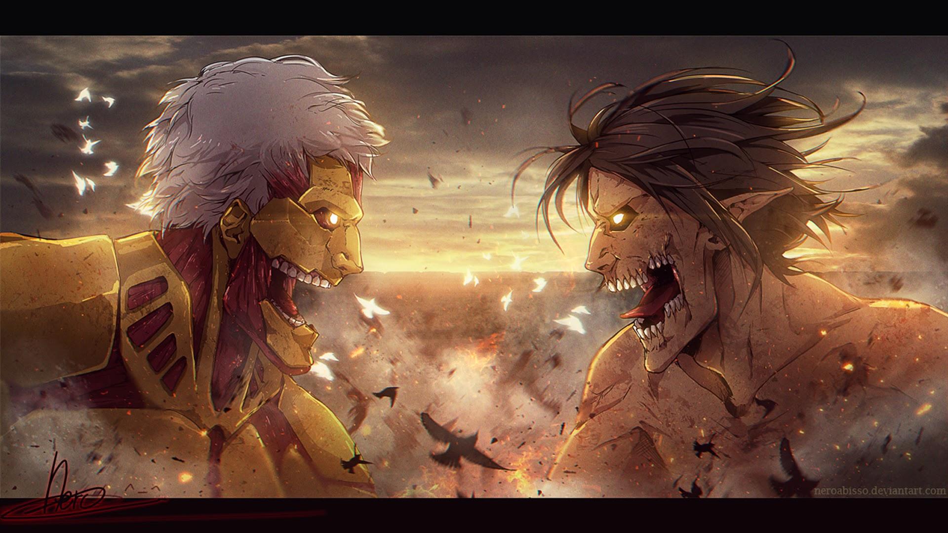 eren rogue titan vs armored titan attack on titan shingeki no kyojin 1920x1080