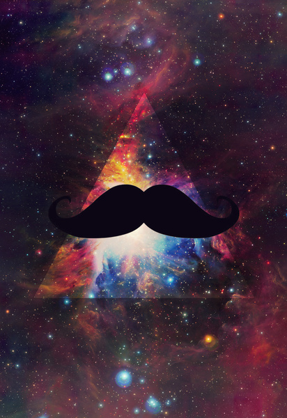 Hipster Galaxy Moustache Art Print by T e a     L e a Society6 412x600