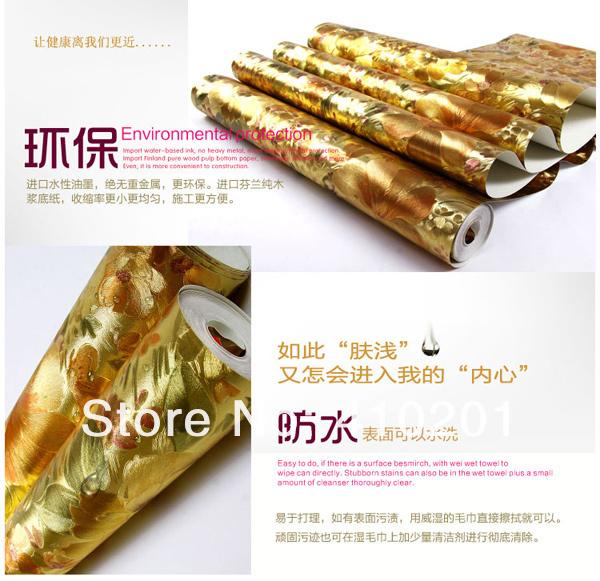 Gold wallpaper wall paper Big order Big Discount wallpaper roll 600x581