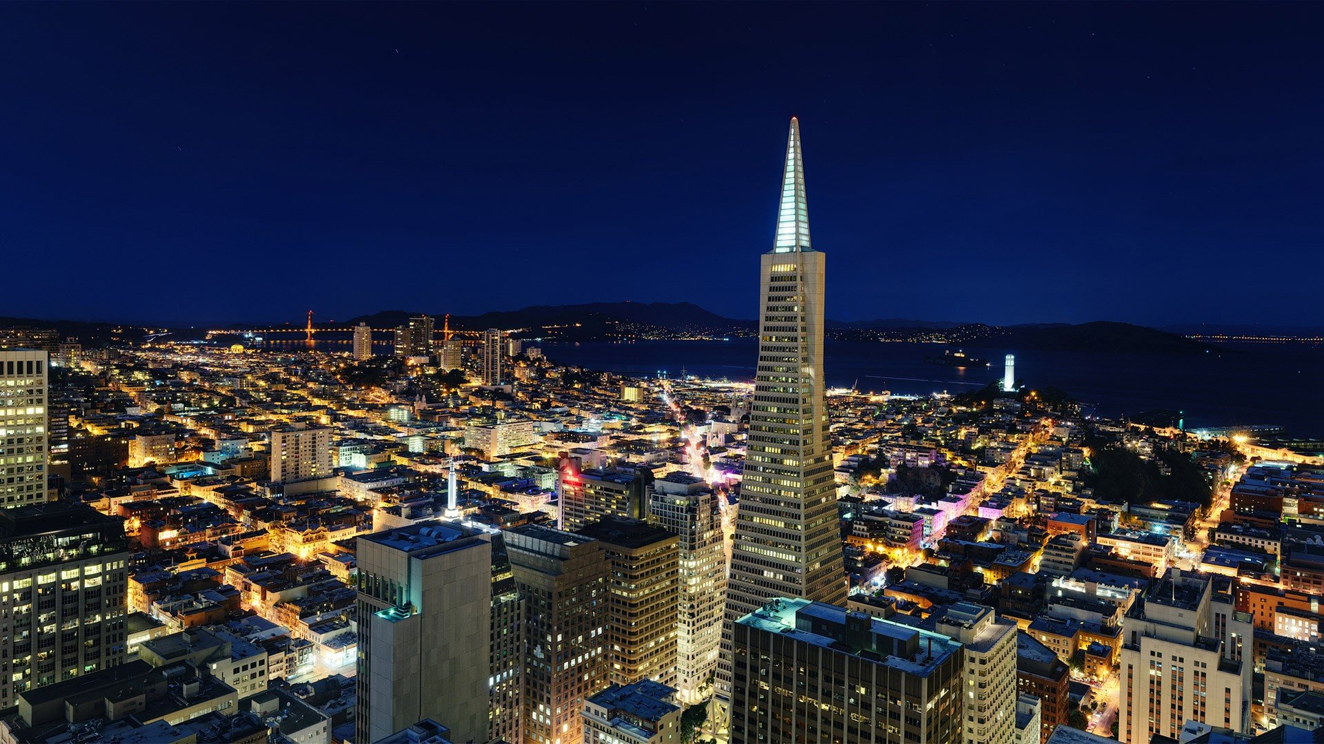 cityscapes San Francisco TransAmerica Building wallpaper background 1920x1080