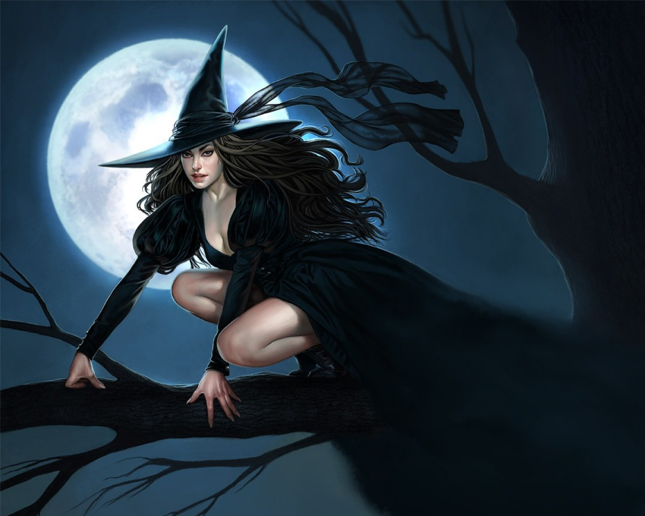 Sexy Halloween Witch   Wallpaper 37595 1280x1024