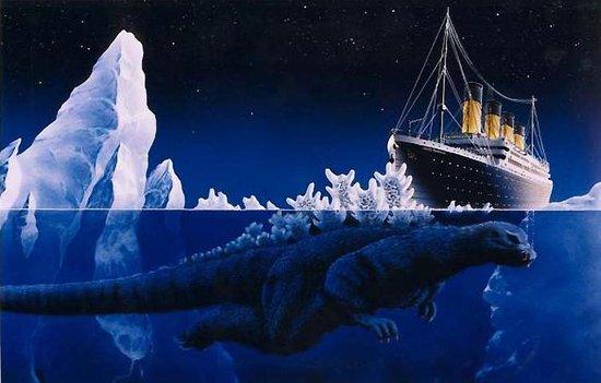godzilla wallpaper Boats Titanic Meets Godzilla 550x351