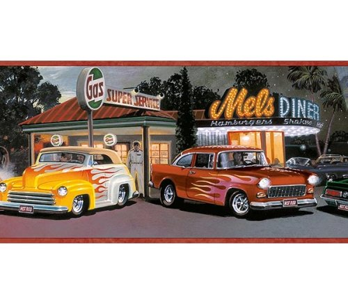 Mels Diner Cars Wallpaper Border Chevy Ford Flames 500x437