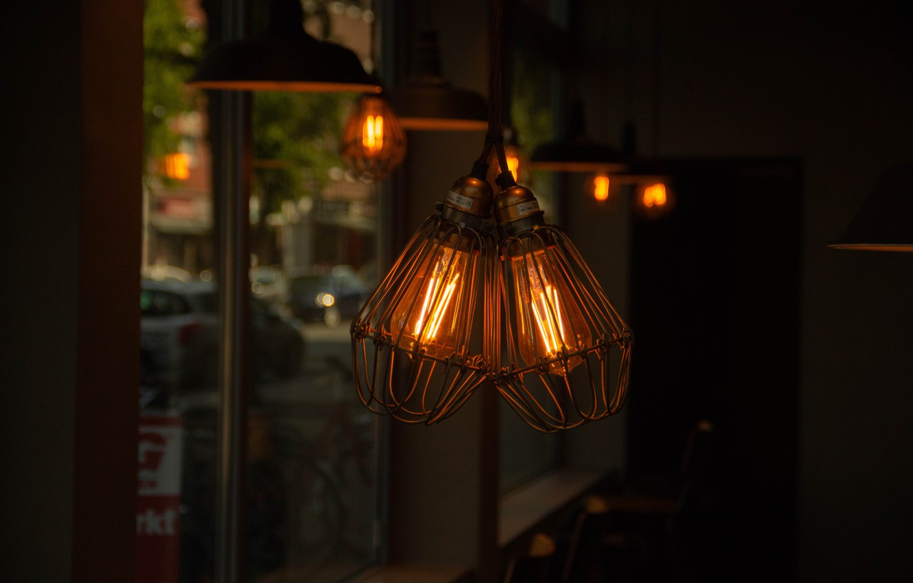 Wallpaper Cafe Germany Lamp Incandescent bulbs images for 1332x850
