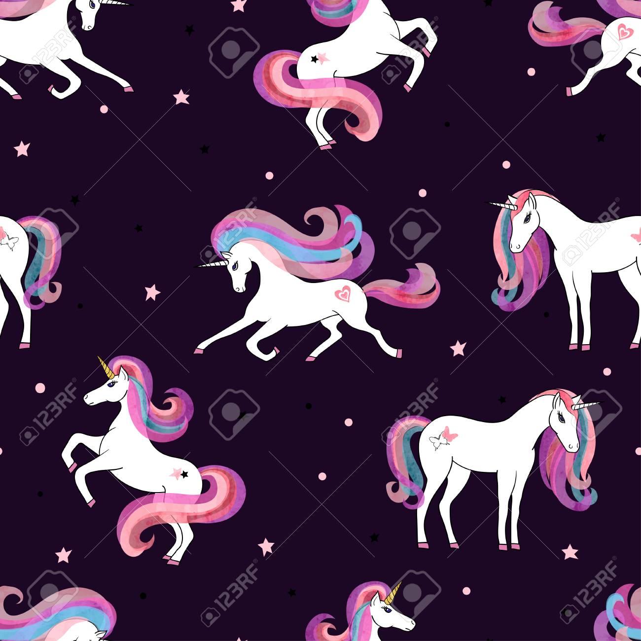 Seamless Pattern With Beautiful Unicorns Vector Magic Background 1300x1300