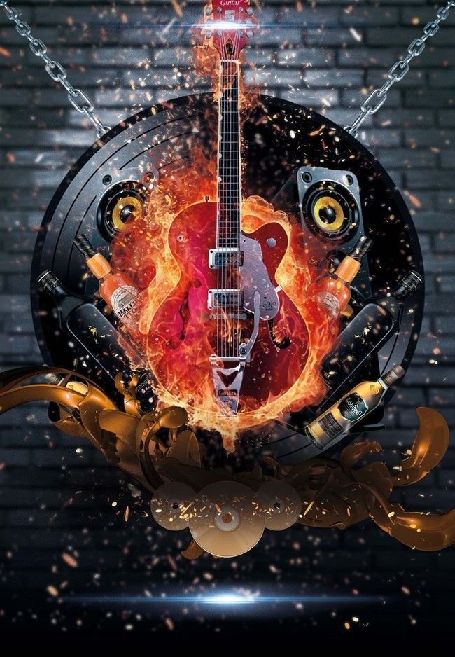 Cool Hot Guitar Show Posters Psd Layered Background Music 650x938