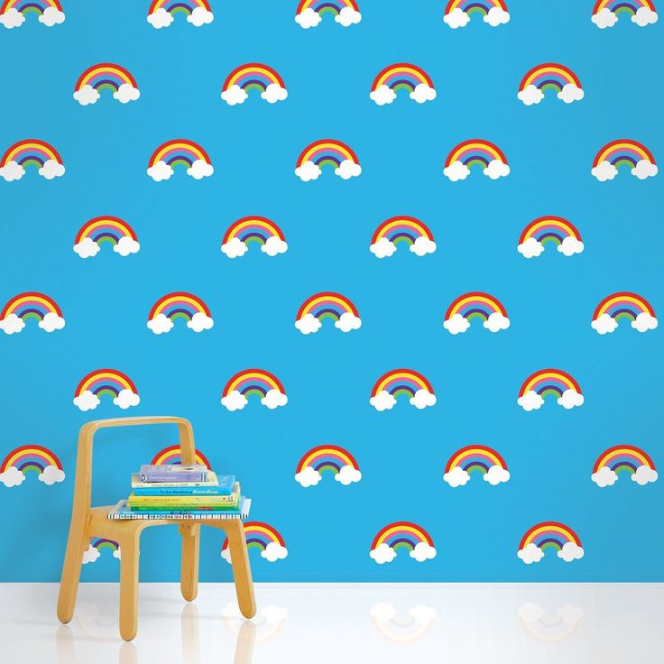 Rainbow Blue Removable Kids Wallpaper Kids WallPaper Pinterest 736x736