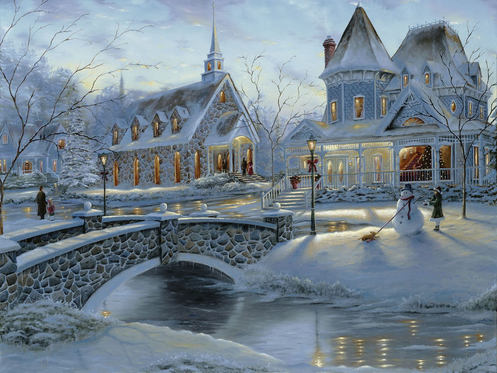 Christmas wallpaper in the beautiful town town Wallpapers 3d for 1600x1200
