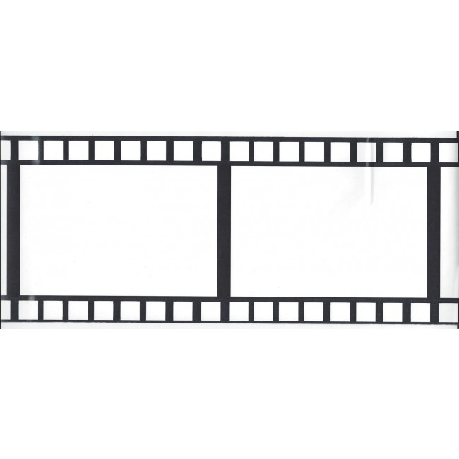 75 Inch Black and White Film Strip Peel Stick Wallpaper Border 650x650