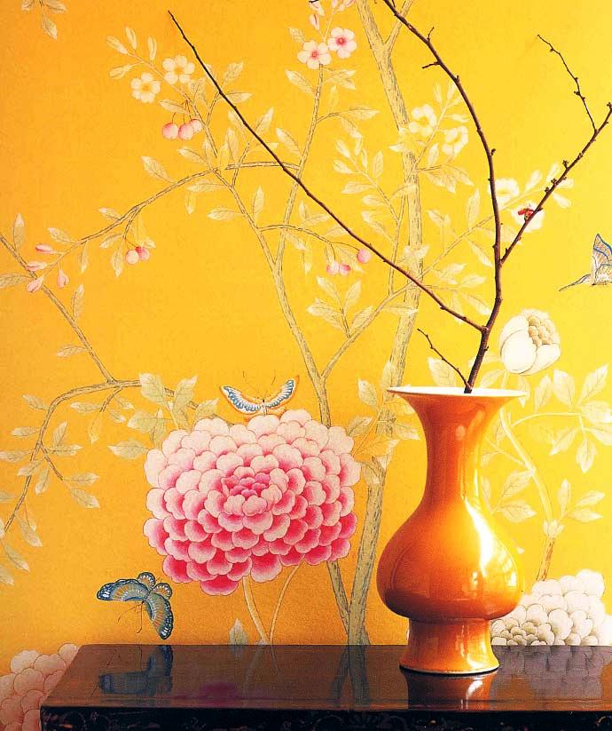 CHINESE NEW YEAR hand painted asian inspired designer wallpaper 690x823