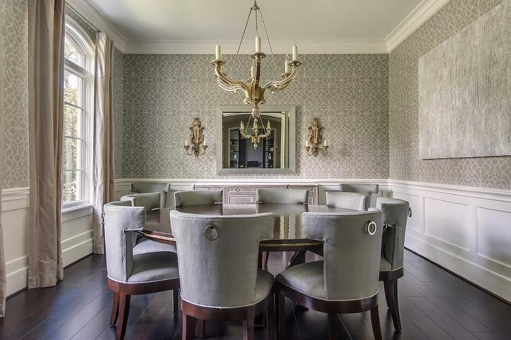 Gray Dining Room with Wainscoting   Transitional   Dining Room 740x492