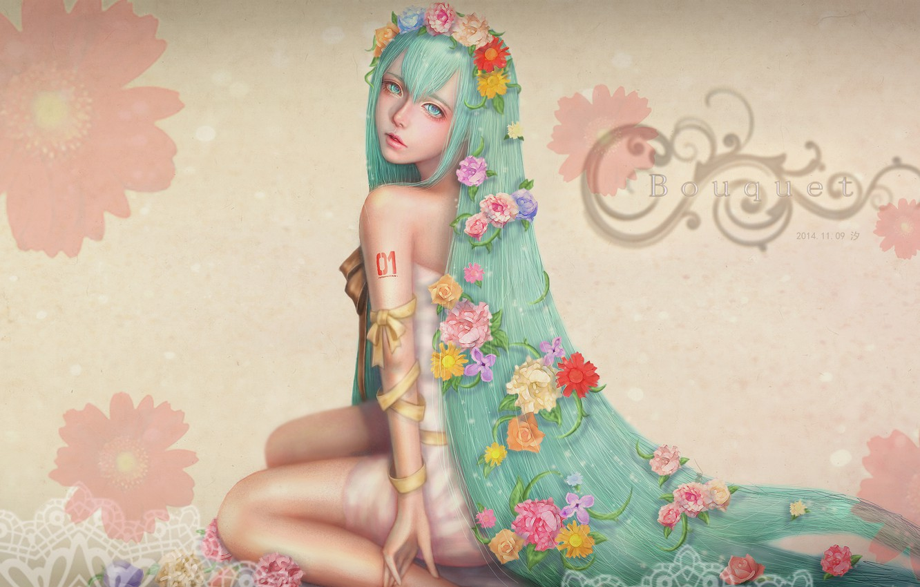Wallpaper flowers roses chamomile dress sitting Hatsune Miku 1332x850