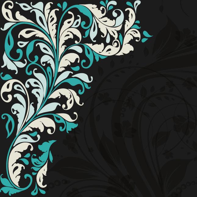 Black Teal Floral Background 646x646
