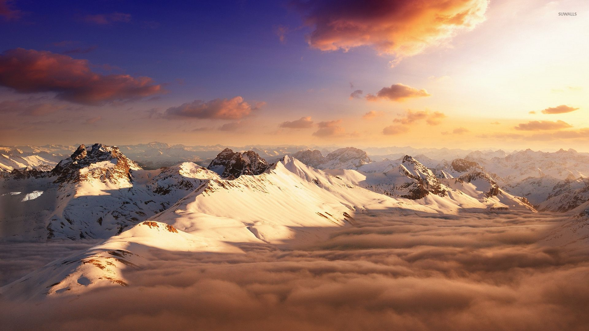Snowy mountain peaks above the clouds wallpaper   Nature 1920x1080