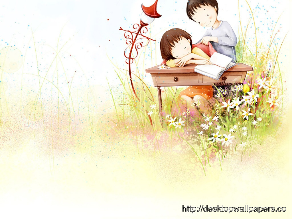 Free Download Wallpaper Love Couple Cute Cartoon Desktop Wallpapers 1024x768 For Your Desktop Mobile Tablet
