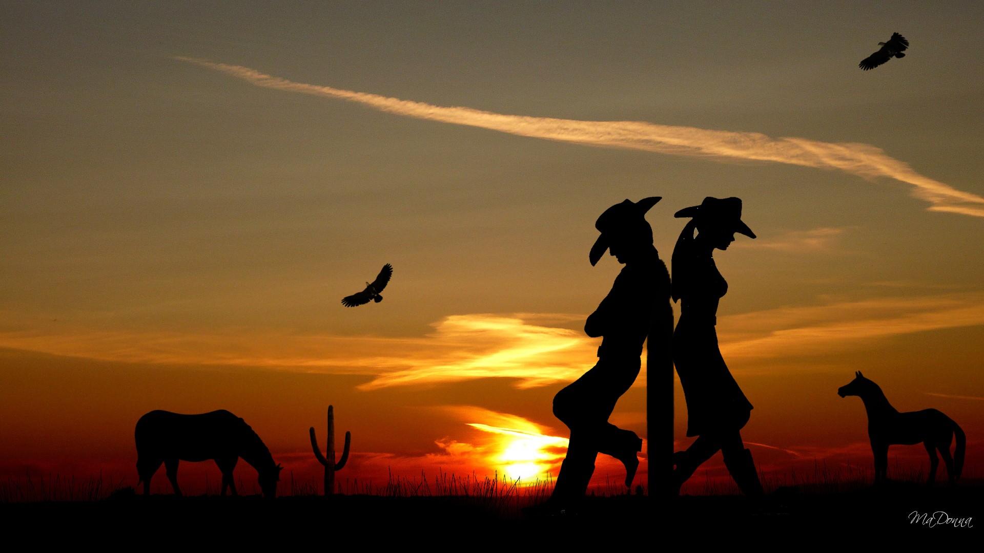 cactus cowboy Western Romance wallpaper 1920x1080