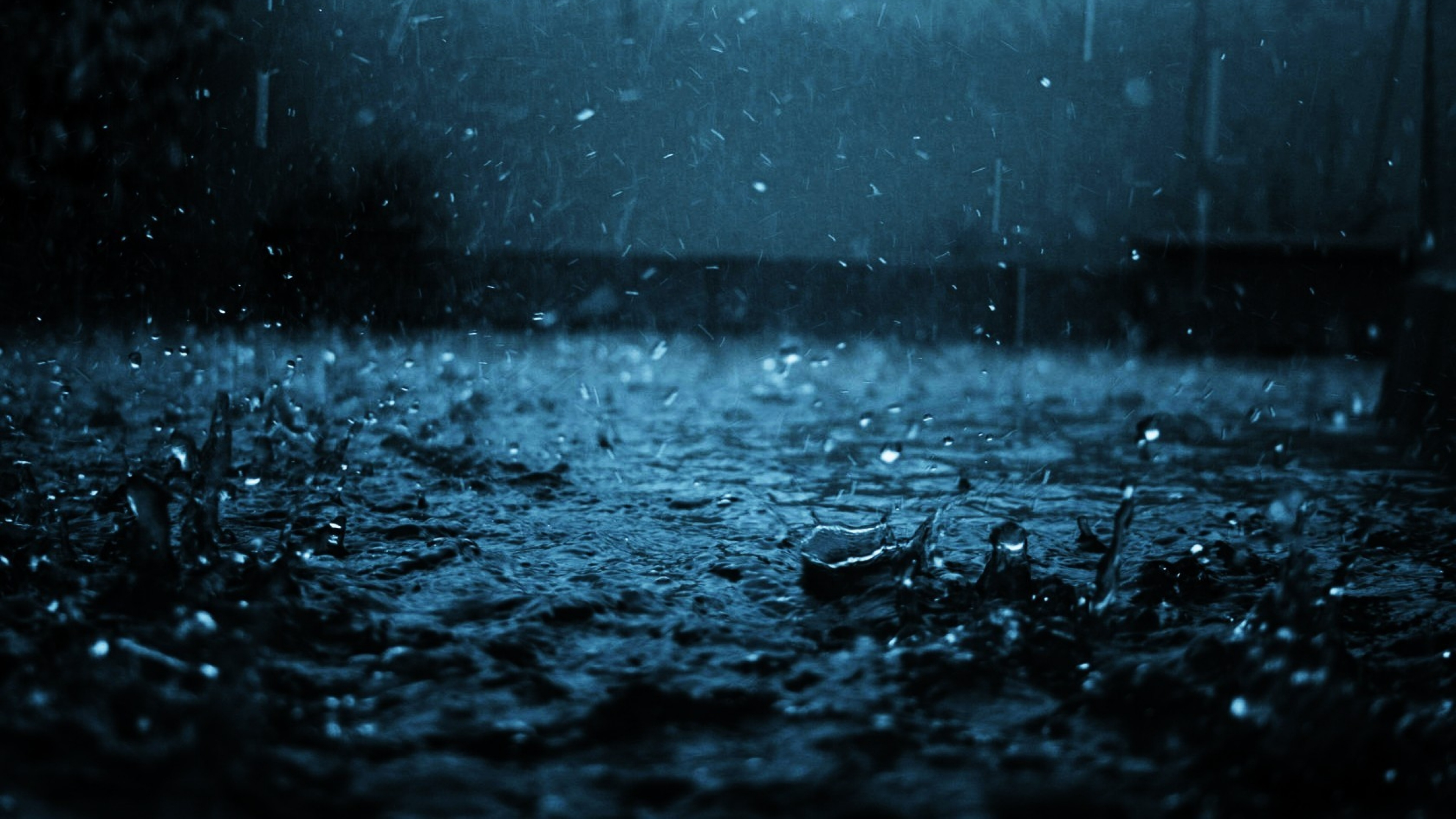 Download Wallpaper 3840x2160 close up drop black blue rain 4K 3840x2160