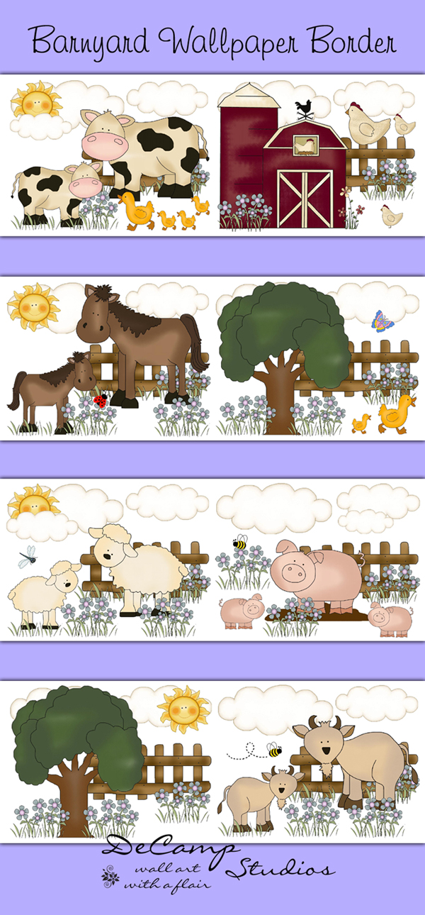 Barnyard Farm Animals Wallpaper Border Wall Decals Girls Room [445 600x1290