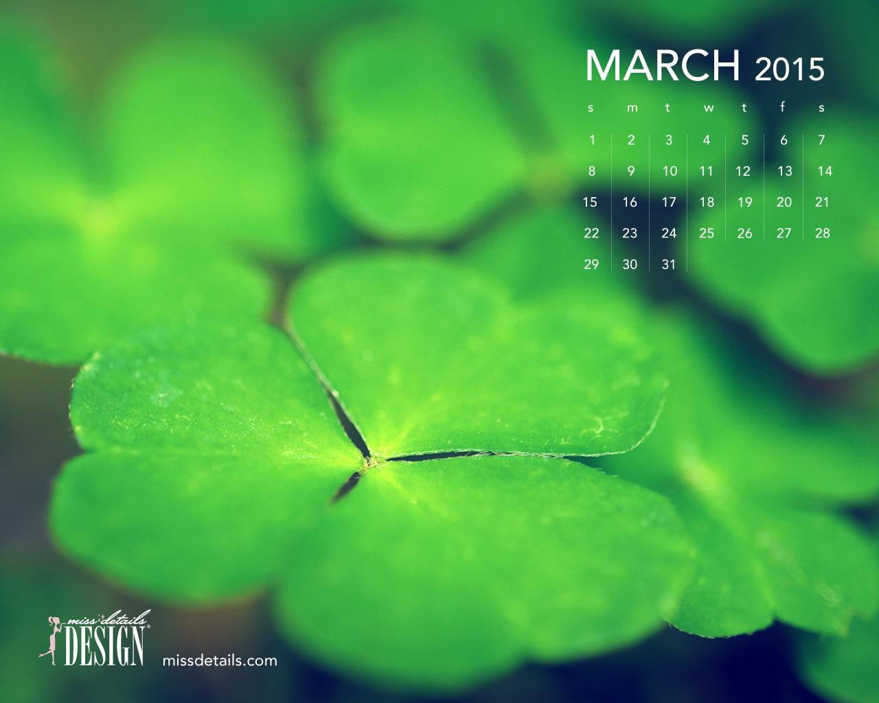 March 2015 desktop calendar wallpaper 1280x1024