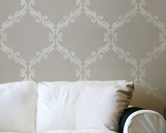 Large Wall Stencil Acanthus Trellis Allover Stencil Great Alternatiive 570x456