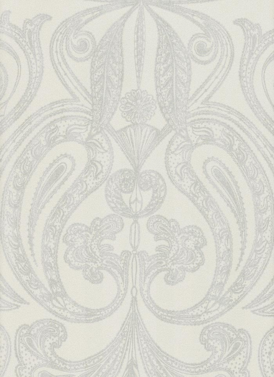Malabar Wallpaper Silver on grey Indian paisley design wallpaper 534x734