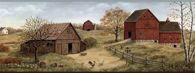 Country Barn Wallpaper Border FFR65391B primitive farm border 622x234