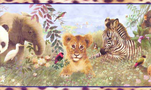 Zoo Animals Wallpaper Border Wallpaper Border YH1597BD   Wallpaper 525x314