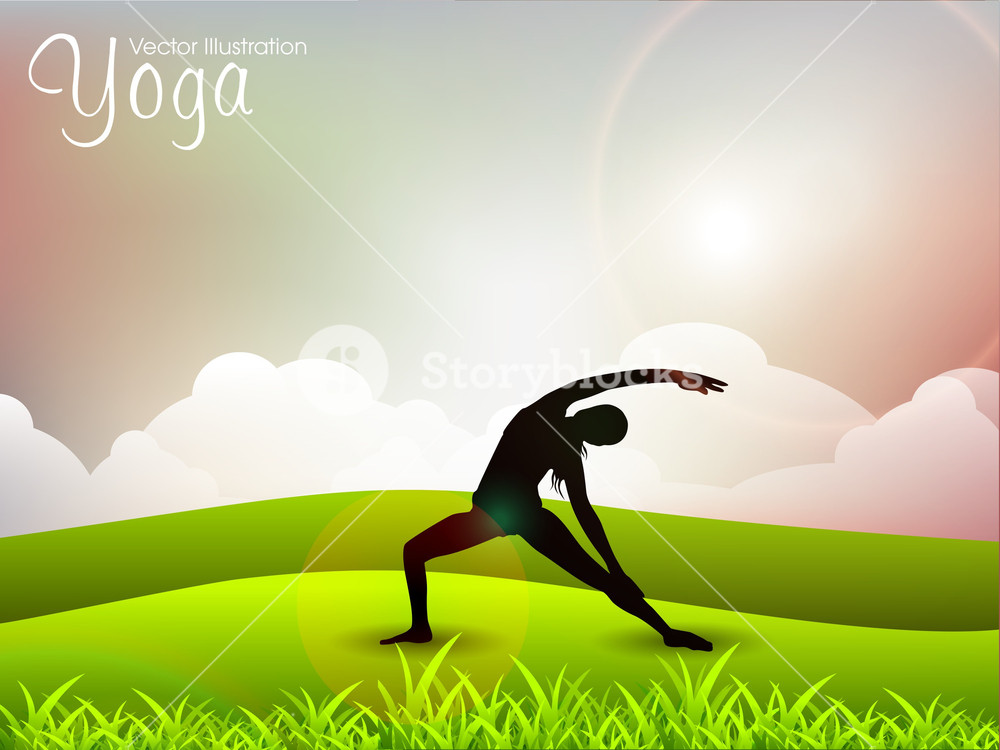 Female Silhouette In Yoga Posture On Nature Background Royalty 1000x750