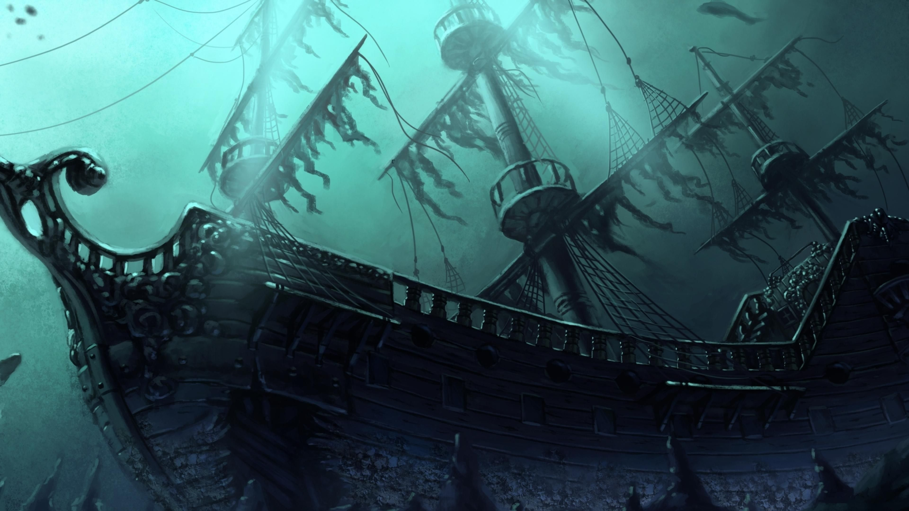 Sunken Ghost Pirate Ship Wallpaper by HD Wallpapers Daily 3840x2160