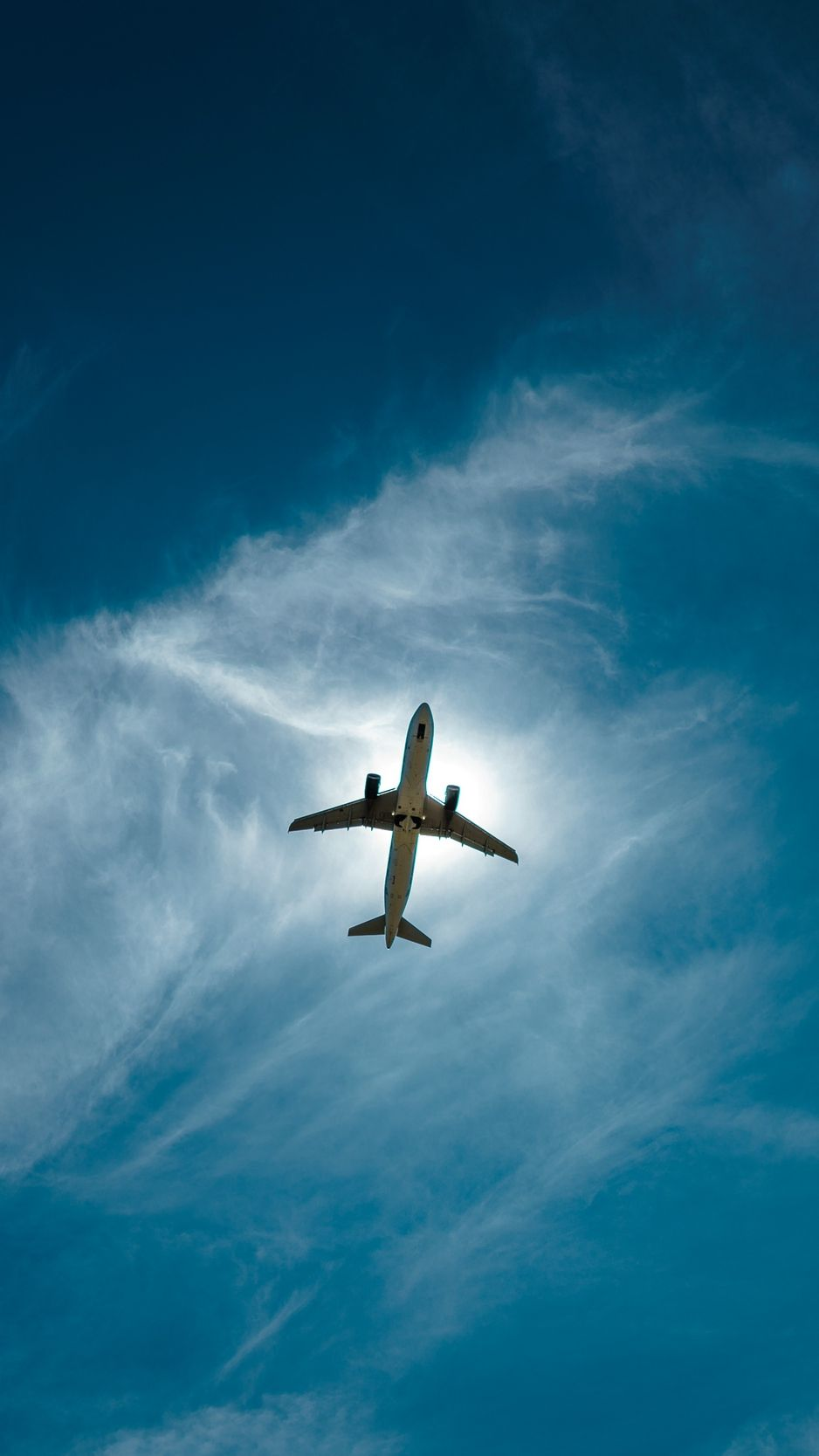 Airplane sky flight clouds height wallpaper background 938x1668